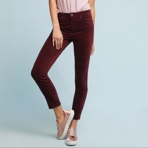 AG The Stevie Ankle Mid-Rise Skinny Velvet Jeans